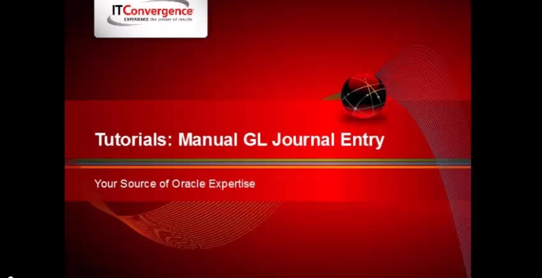 Manual General Ledger (GL) Journal Entry
